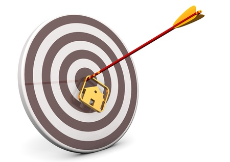real estate market: Arrow with house in the target  White background
