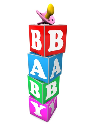 kindy: Cubes with the text baby. White background.