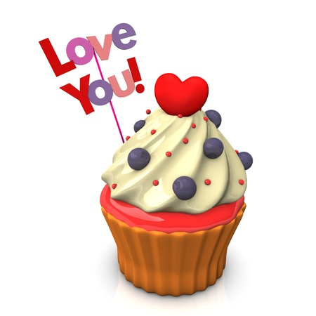 lovestruck: A cupcake with red heart and text Love You. Stock Photo