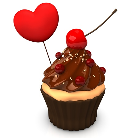 choco: Choco cupcake with heart and cherry. White background. Stock Photo