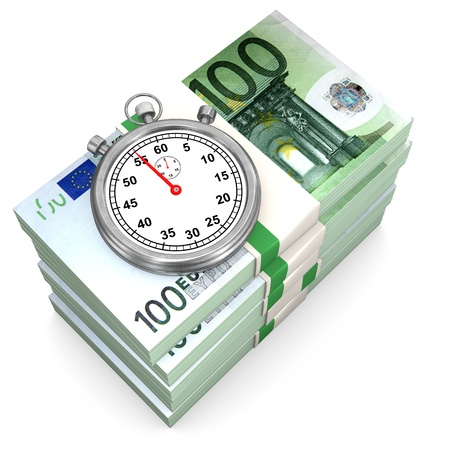 fonds: Euro notes with stopwatch on the white background.