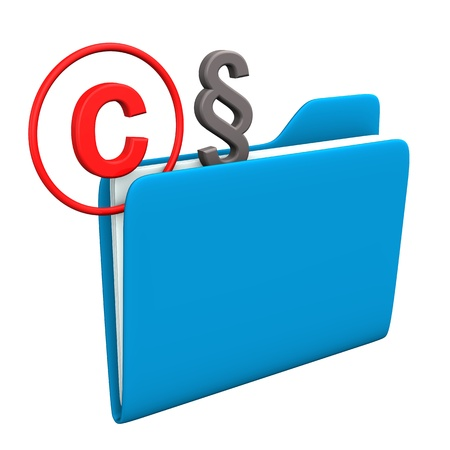 Folder with symbol of copyright and paragraph. Stock Photo - 18278502