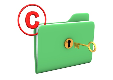 Folder with golden key and symbol of copyright. photo