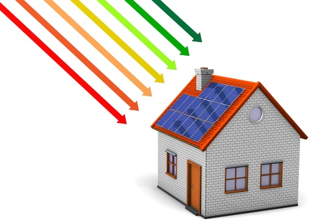 House with energy efficiency scale on the white background. photo