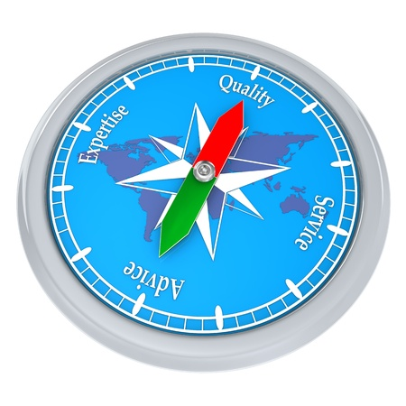competence: Blue compass with the text quality, service, advice, competence.