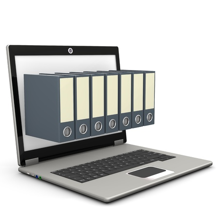 ultrabook: A notebook with seven folders on the white background.