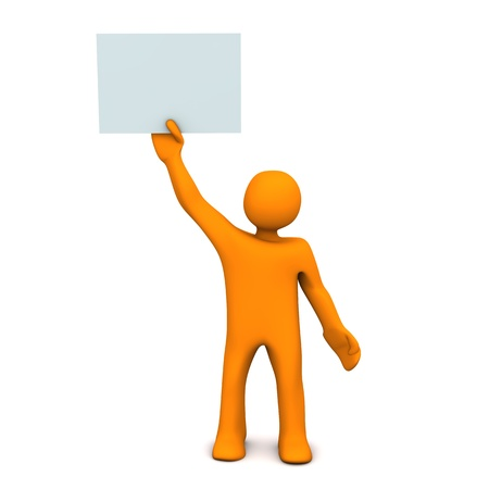 acclaim: Orange cartoon character with sheet of paper and text Yes!.