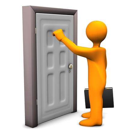 frontdoor: Orange cartoon character knocks on the frontdoor. Stock Photo