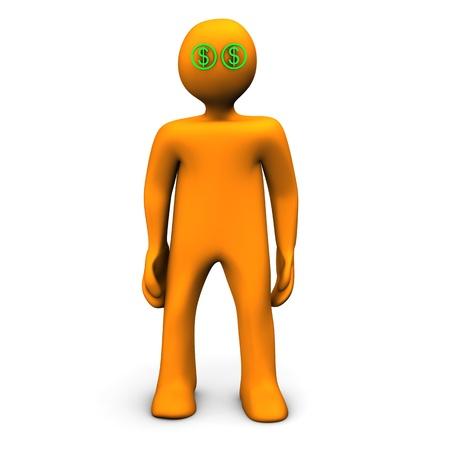 Orange cartoon character with dollar eyes. White background.