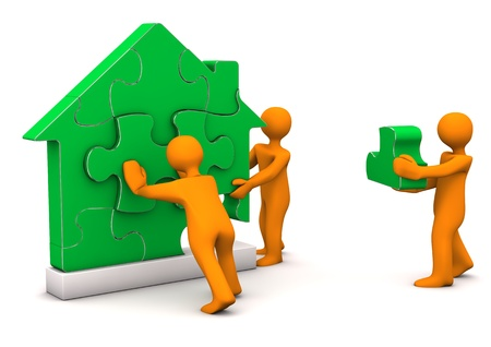 house prices: Orange cartoon characters builds with puzzles a house.