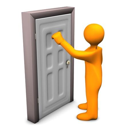 Personnage de dessin animé orange frappe à la porte d'entrée.