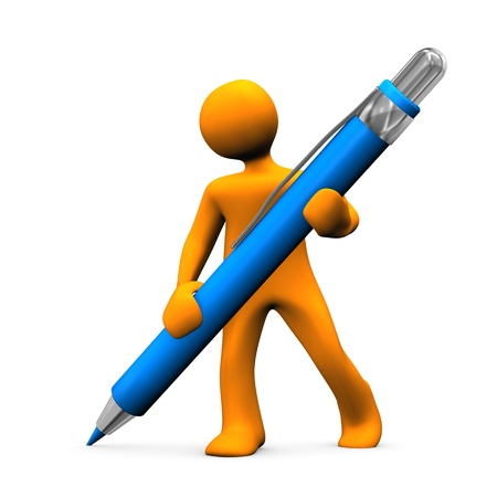 Orange cartoon character with blue ballpen. White background. Stock Photo