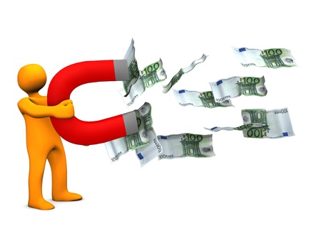 Orange cartoon character with magnet and euro notes. Stock Photo - 18278534