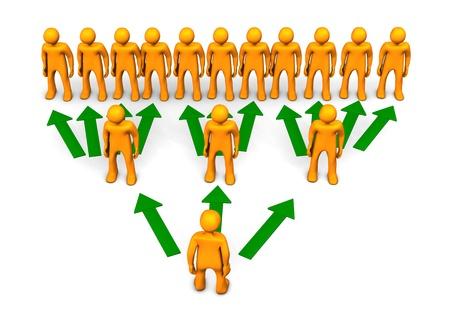 piramide humana: Una representación de esquema de pirámide con toons naranjas y las flechas verdes. Foto de archivo