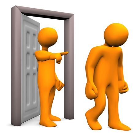 mobbing: Illustration of two orange cartoon characters and a frontdoor. Stock Photo