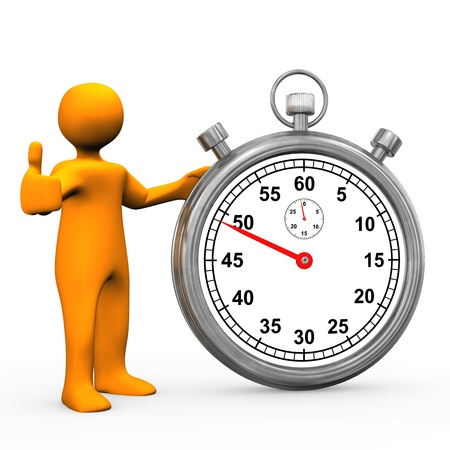 burn out: Orange cartoon character with stopwatch. White background. Stock Photo