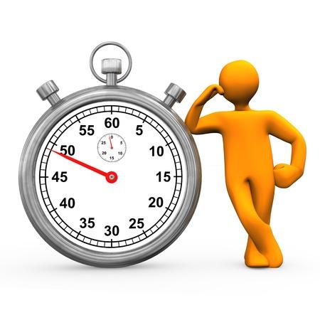 chronograph: Orange cartoon character with stopwatch. White background. Stock Photo