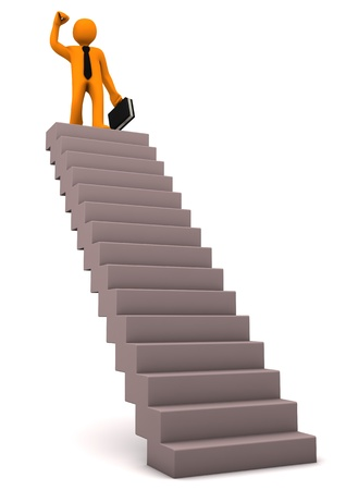 woman stairs: Orange cartoon character on the stair with black case and tie.