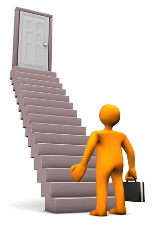 Orange cartoon character with black case with stair. White background. Stock Photo - 18278479