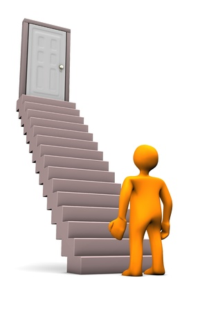 upstairs: Orange cartoon character with stair. White background. Stock Photo