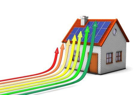 eficiencia energetica: Casa con escala de eficiencia energ�tica en el fondo blanco. Foto de archivo