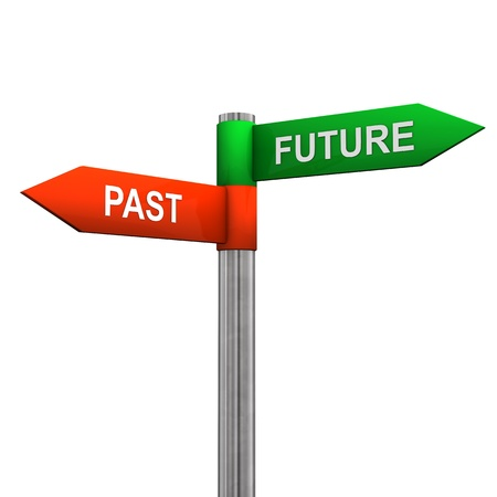 Signpost with two directions with the text 'past' and 'future'. photo