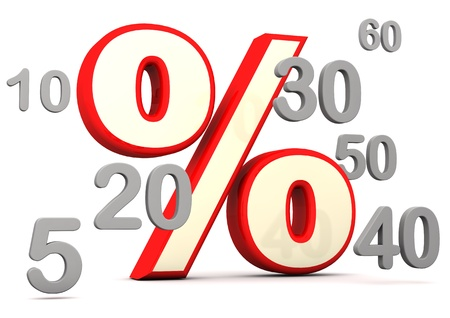 economize: Red symbol of percent with grey numbers. White background. Stock Photo