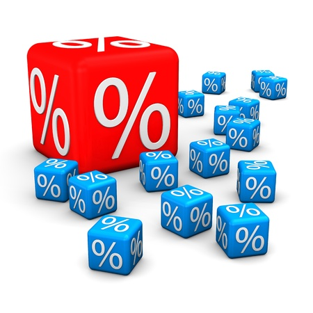 Blue small cubes and one big red cube with symbol of percent  Stock Photo - 18278601
