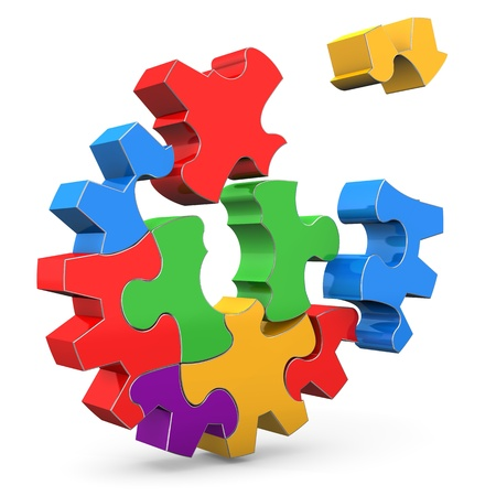Colorful puzzle gear wheel on the white background  Stock Photo