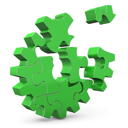 gearwheel: Green puzzle gear wheel on the white background  Stock Photo