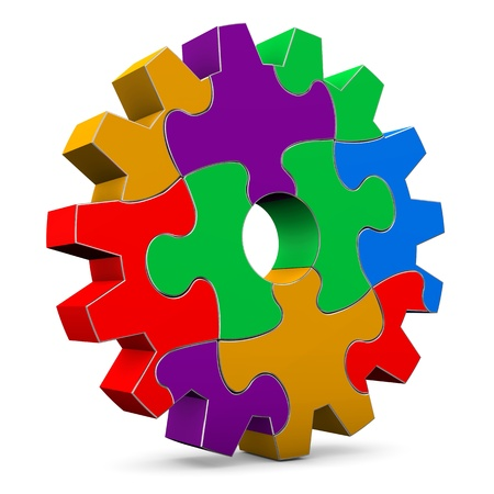 interlocking: Colorful puzzle gear wheel on the white background  Stock Photo