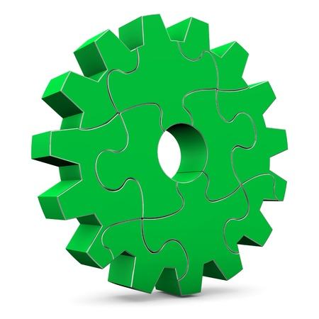 Green puzzle gear wheel on the white background  Stock Photo