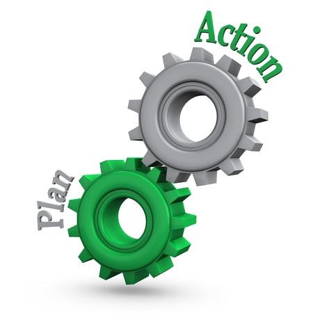 plan de accion: Engranajes con el texto y el plan de acción Foto de archivo