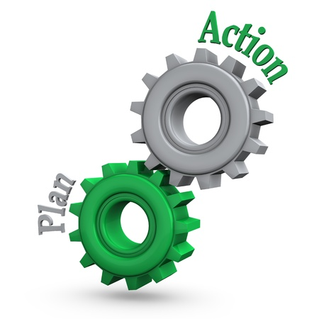 action plan: Gears with the text  action  and  plan   Stock Photo