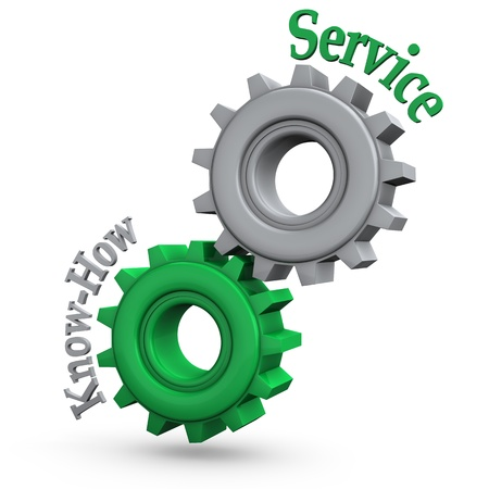 how: Gears with the text  service  and  know-how