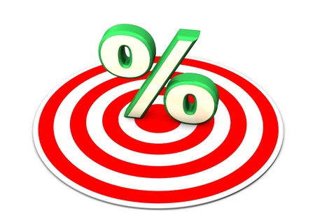 economize: Green symbol of percent with red target on the white background