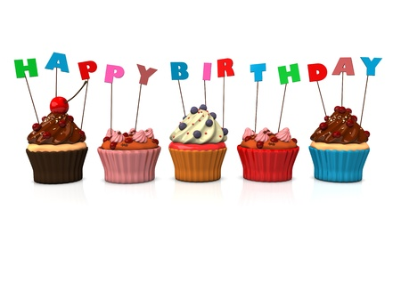 Cupcakes with text 'happy birthday'. White background. photo