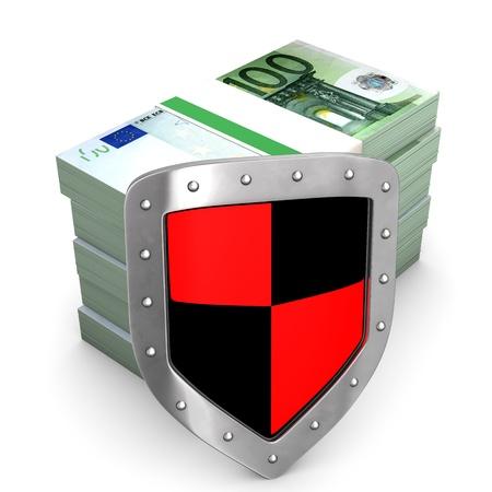 iron defense: Euro banknotes with protective shield. White background. Stock Photo