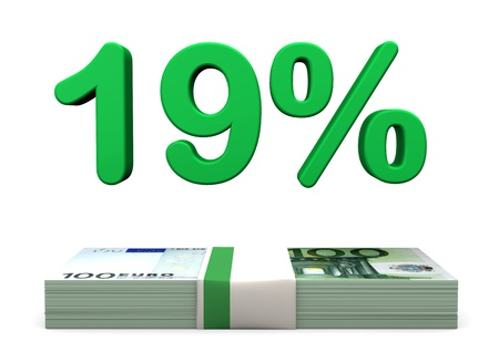 finanzen: 19 percent in green color with euro banknotes on the white background.