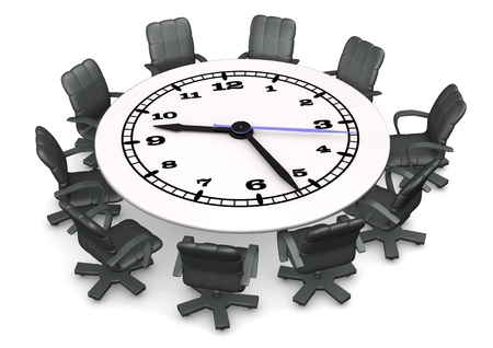 Clock face table with swivel armchairs. White background. photo