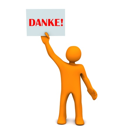 assent: Orange cartoon character with sheet of paper and german text danke!, translate thanks!.