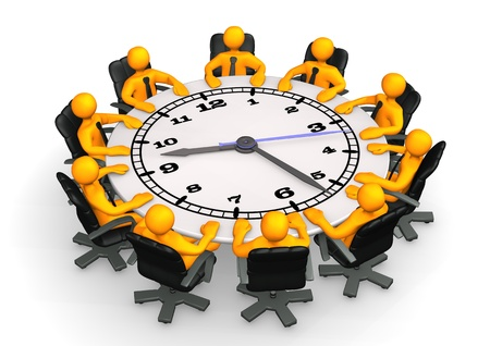briefing: Clock face table with swivel armchairs and orange cartoon characters. White background.