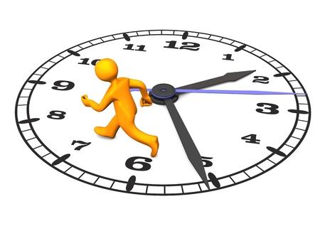Personnage de dessin animé orange sur la grande horloge. 3d illustration sur fond blanc.