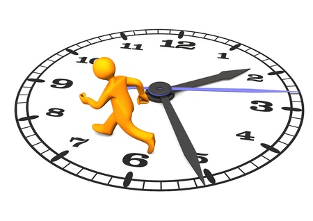 delay: Orange cartoon character on the big clock. 3d illustration with white background.