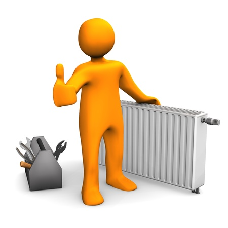 heating: Orange cartoon character with radiator and OK symbol. Stock Photo