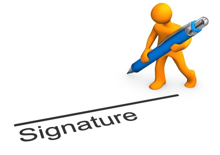 Orange cartoon character with blue pen and text signature.