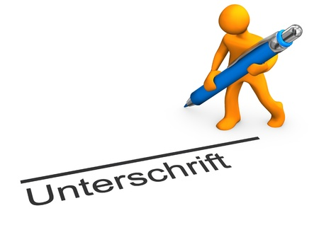 attestation: Orange cartoon character with blue pen and german text unterschrift translate signature. Stock Photo