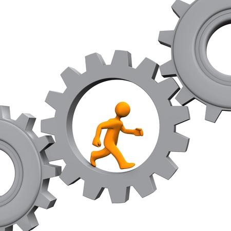 runs: Orange cartoon character runs in the grey gear. White background.