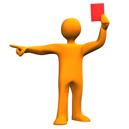 Orange cartoon character as referee with red card. photo