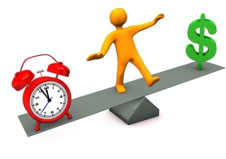 Orange cartoon character between time and money. photo